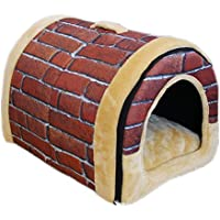 Mixse Cozy 2-in-1 Pet house and Sofa Non-Slip Dog Cat Igloo Beds 3-Size,Brick Large