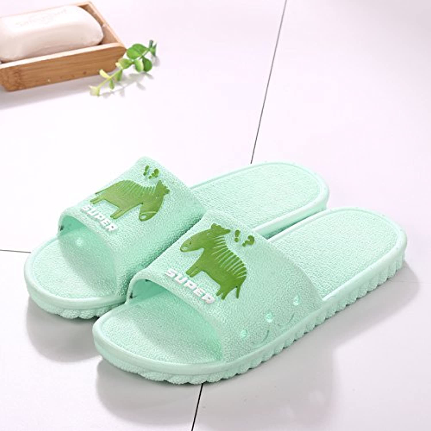 fankou Summer Sandals Men Tide Bathroom Bath Anti-Slip Thick Outside The Home Interior Cool Slippers,39-40, [Green]