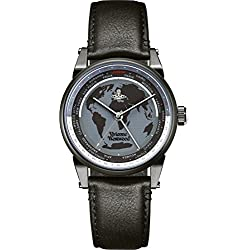Vivienne Westwood Men's Finsbury World Quartz Analogue Display Watch with Black Dial and Black Leather Strap VV065MBKBK