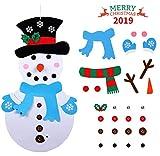 Idefair Feltro Pupazzo di Neve Natale con Ornamenti 28 Pz DIY Natale Pupazzo di Neve Regali di Natale di per la Decorazione della Parete del Portello dei Bambini