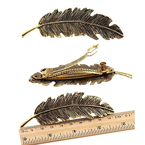 CINEEN 3 Farben Metall Feder Blatt Haarklammern Vintage Blatt förmigen Haarspangen Haarschmuck Kopfschmuck Haar Zubehör -