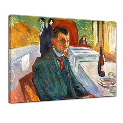 Bilderdepot24 Leinwandbild - Alte Meister - Edvard Munch - Selbstbildnis mit Weinflasche - 60x50cm einteilig - Kunstdruck - Bild auf ()