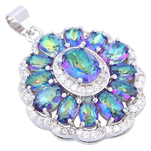 Da donna, in argento Sterling 925Blu Topazio Arcobaleno collane ciondoli gioielli P257
