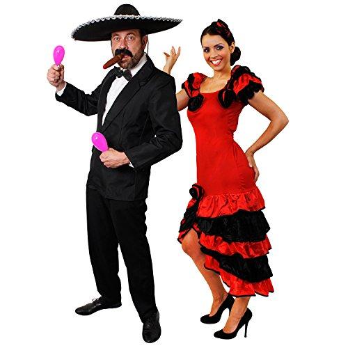 ILOVEFANCYDRESS SPANISCHES Rumba-Paar= Karneval+Fasching+Themen Party=Rosa MARRACAS+Anzug-S+ Kleid-XS