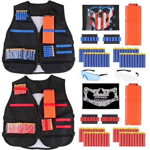 WOSTOO Taktische Weste für Kinder, Taktische Weste Jacke Set, Kids Tactical Vest Kit 2 Sets - Elite Tactical Vest Kit Schaumstoffkugeln für Nerf N-Strike 80 Nachfüllpfeilen 2 Nachladeklammern -