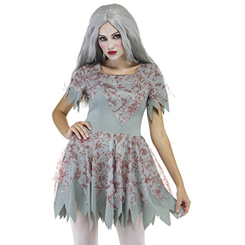 (Halloween Damen blutiges Kostüm Horror Zombie Mörder Killer Kleid Minikleider)