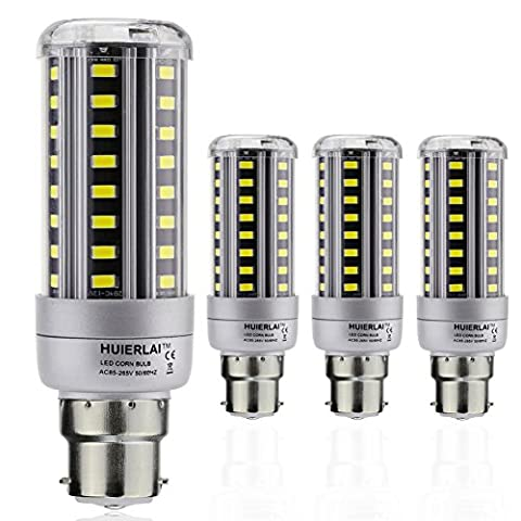 4-Pack 12W LED Corn Light Bulbs - B22 Corn Lamp (80~100W Equivalent ) Cool White 6000k 1205lm for Street Lamp Post Lighting Garage Warehouse High Bay Barn Porch Backyard Garden by