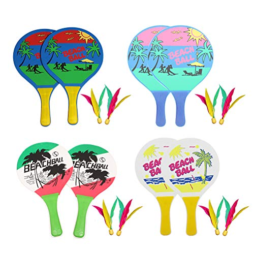 Vosarea Spielset Strand Paddel Set Campingausrüstung mit Holzschläger Beachball Badminton Schläger Cricket Ball Federball Spiel und Familientraining Kinder Kinder Büro Outdoor Sports