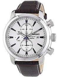 Seiko Herren-Armbanduhr Chronograph Quarz Leder SNAF51P1
