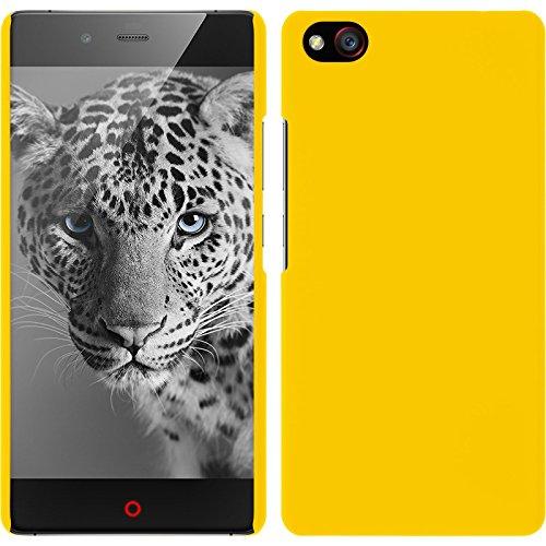 PhoneNatic Case kompatibel mit ZTE Nubia Z9 Max - Hülle gelb gummiert Hard-case + 2 Schutzfolien