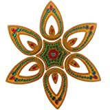 KALA NIRMAN - Acrylic Rangoli Leaf Shape Design For The Festive Season -Yellow 7 Pieces