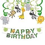 Jungle Suspendre Tourbillons Spirale et Happy Birthday Bannière, Guirlandes de fête Forêt Animal Hanging Swirl Décorations Kit Plafond Accueil Décor pour Baby Shower Enfants d'anniversaire Fête