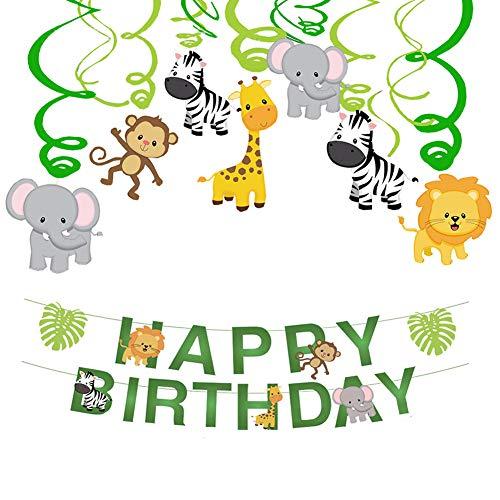 Haocoo Urwald Party Swirl Spiral und Happy Birthday Banner, Party Girlanden Wald Tier Hängende Dekorationen Kit Decke Zuhause Dekor für Baby Shower Kinder Geburtstagsparty