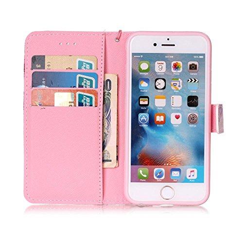 """Cuir Portefeuille Coque pour Apple iphone 6 Plus 6S Plus 5.5"""" Rose, Élégant iPhone 6S Plus étui Rabat Style, iPhone 6 Plus Case, Joli Image Peinture Arbre coloré Rose-2"""