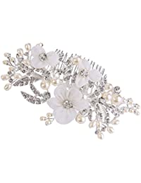 Clearine Women's Bohemian Wedding Cluster Crystal Beaded Ivory Color Simulated Pearl Romantic Hair Band