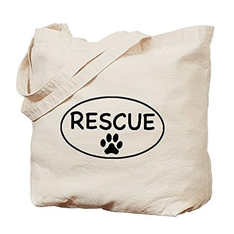 CafePress - Rescue White Oval - Natural Canvas Tote Bag,