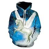 WEIYIGE 3D-Kapuzenpullover Sporthemd Starry Serie Digitaldruck Paar Pegasus Gesetzt Herbst Und Winter -M
