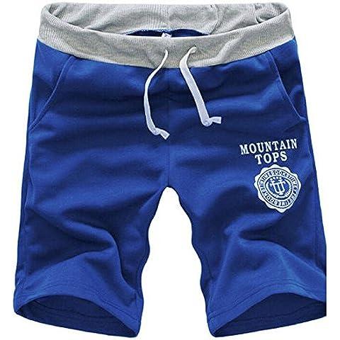 Tongshi Moda algodón de los hombres pantalones cortos gimnasia del deporte que activan los pantalones ocasionales (Azul, 31/L)