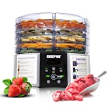 Geepas 520W Digital Food Dehydrator - Food Dryer with 5 Large Trays, Adjustable
