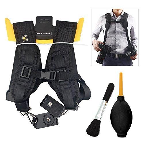 rápida doble correa para el hombro para cámara, Konsait ajustable de doble cámara sling correa del cuello con cepillo de polvo y bola de soplador de polvo (Tipo 1)