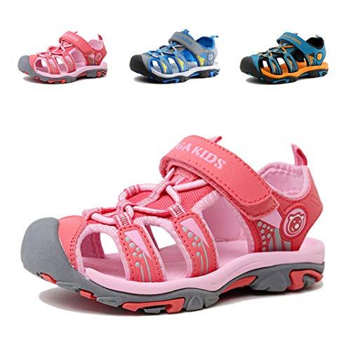 Geschlossene Sandalen Jungen Trekking Sommer Schuhe Klettverschluss Wasserdicht Outdoor Kindersandalen Mädchen Wasserfest Atmungsaktiv Strand Unisex Pink 25