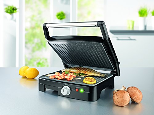 GOURMETmaxx 07051 Indoor Grill and Panini Maker | Electric Grill | Griddle and Grill | 1800 Watt