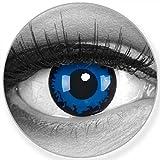 Funnylens Farbige Kontaktlinsen Dark Blue blau dunkelblau - weich ohne Stärke 2er Pack + gratis Behälter – 12 Monatslinsen - perfekt zu Halloween Karneval Fasching oder Fasnacht