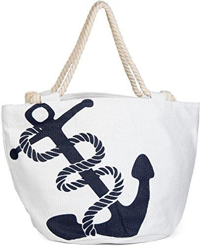 styleBREAKER Strandtasche in Flechtoptik mit Anker Print und Reißverschluss, Shopper, Badetasche, Damen 02012060, Farbe:Weiß-Navy (Kompass Bag Schwarz Tote)