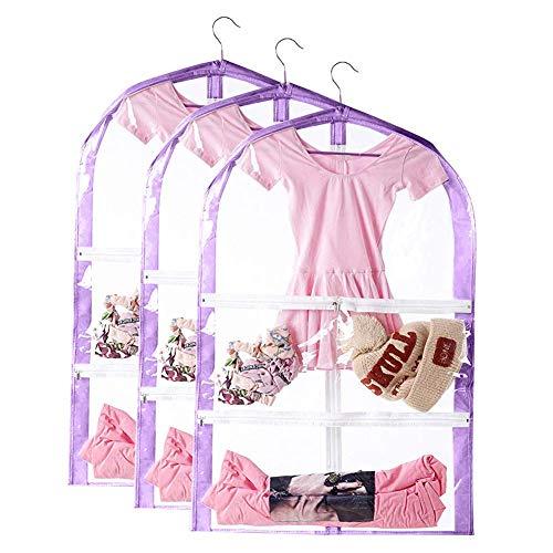 Tanz Kostüm Taschen - QEES Kinder-Tanzkostümbeutel, Kinderkleidung & Kostümtasche mit 3 Taschen, faltbar, zum Aufhängen von Kostümen, Aufbewahrungstasche mit Reißverschluss für Tanz-Wettkämpfe, violett, 3 Stück