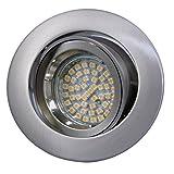 LED Einbaustrahler / Niedervolt / Aluminium / Spot / Einbauleuchte / Einbauspot / schwenkbar / RUND-14402 / MR16 / GU5.3-12V (Warmweiß)