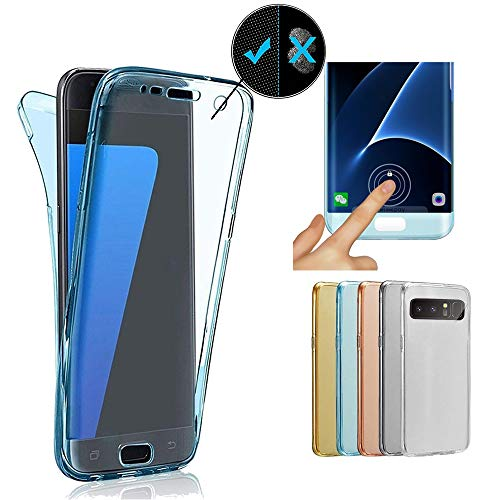 Miagon Galaxy Note 8 Full Cover,Galaxy Note 8 360 Grad Handyhülle, Blau Full Body Silikon Etui Vorne Hinten Rundum Doppel-Schutz Hülle für Samsung Galaxy Note 8