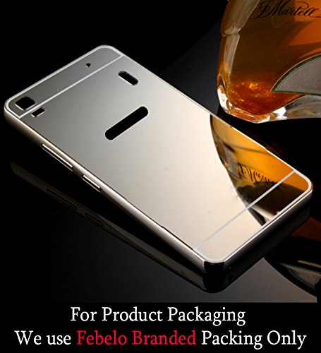 Febelo Branded Luxury Metal Bumper Acrylic Mirror Back Cover Case For Lenovo K3 Note - Silver Plated