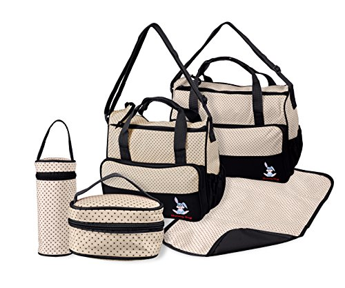 TechnoTec Multi-Function Baby Diaper Nappy Bag/Mummy Changing Set Handbag (Pack of 5, Black) Test