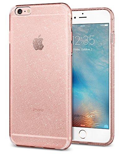 Custodia iPhone 6 Plus, Spigen Custodia iPhone 6S Plus [Cover Silicone Gel] **Liquid Crystal** [Crystal Clear] Forma Morbido, Cover iPhone 6 Plus, Cover iPhone 6S Plus (SGP11642) LC_Glitter Rose Quartz