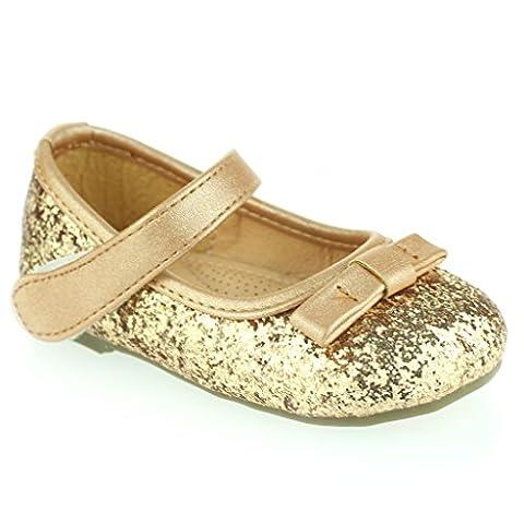 Enfants Filles Arc Brillant Détail Velcro Fermeture Bébé Pompe Plate Semelle Coussinée Ballet Flats Or Sandale Chaussure Taille 21
