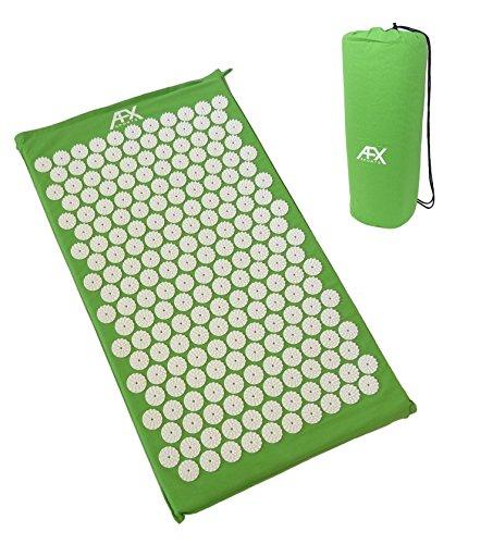 AFX Akupressur-Matte – 72 x 42 x 3 cm – Massage-Matte, Shakti/Bett der Nägel/Massage/Wellness / Entspannungs-Matte (GRÜN)
