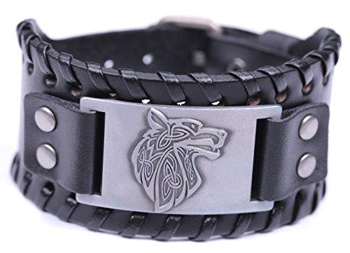 VASSAGO Pulsera de piel de estilo vintage, diseño de cabeza de lobo vikingo con talismán escandinavo
