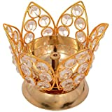 Onvay Lotus Shape Akhand Diya Decorative Brass Crystal Diamonds Oil Lamp Tea Light Holder Lantern Oval Shape (Medium) | Diya For Puja Room | Diya For Diwali | Decorative Diya | Gift Items For Diwali