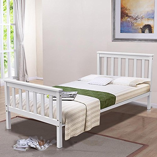 Pine Wood Single Bed Frame in White 3ft Solid Wood Bed Frames Single 77.9L X38.5W X32.2H