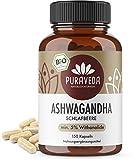 Bio Ashwagandha Kapseln (150 Stück) - 5% Withanolide - KEIN Magnesiumstearat - 100% BIO - Qualität von PURAVEDA