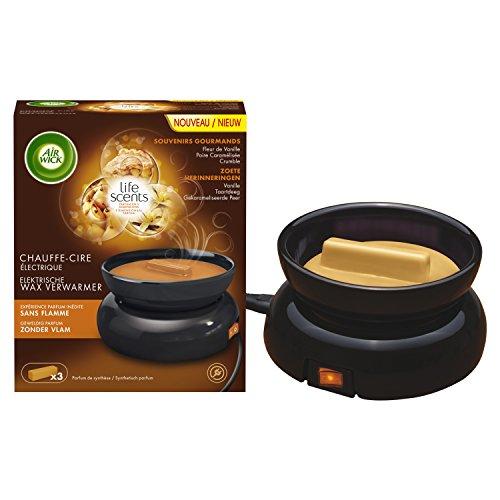 Air Wick, Scaldacera elettrico Souvernirs Gourmands, incl. 3 bastoncini di cera profumata (fiore di vaniglia, pera caramellata e crumble)