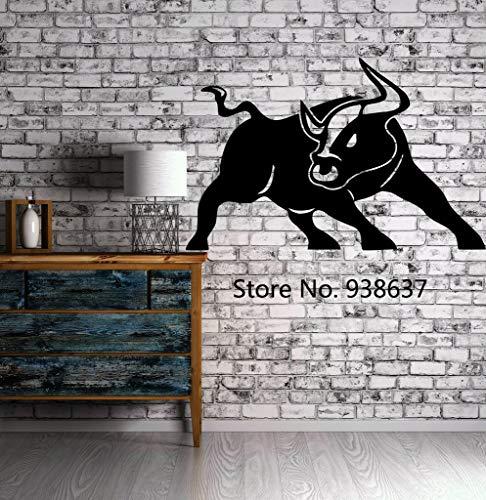 Abnehmbare Vinyl Kunst Aufkleber Wandaufkleber Wütend Bull Hörner Rodeo Cowboy Ranch Tier Moderne Wohnkultur Wohnzimmer Bedroom56x87cm