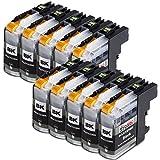10x Druckerpatronen Kompatibel für Brother LC-123 LC123bk LC 123 Schwarz Black bk mit Brother MFC-J6520DW MFC-J6920DW DCP-J132W DCP-J152W DCP-J552DW DCP-J752DW DCP-J4110DW DCP-J152WR DCP-J172W MFC-J285DW MFC-J4310DW MFC-J475DW MFC-J6720DW MFC-J875DW MFC-J970DW MFC-J245 MFC-J470DW MFC-J650DW MFC-J870DW MFC-J4410DW MFC-J4510DW MFC-J4610DW MFC-J4710DW