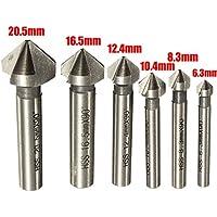 Malayas® Avellanadores 90° HSS Juego de 6 Brocas Avellanadoras de 20.5mm 16.5mm 12.4mm 10.4mm 8.3mm 6.3mm de 3 Alas de Corte para Madera Metal Aluminio