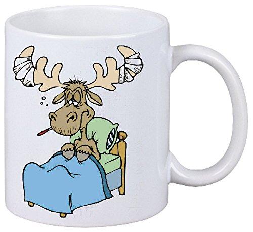 Kaffeetasse Motiv Nr. 11366 Kranker Elch Cartoon Spass Fun Kult Film Serie Dvd Cartoon Spass Fun Kult Film Serie Dvd Keramik Höhe 9,5cm ? 8cm in Weiß