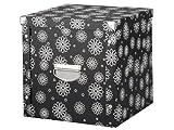 Zeller 17885 Aufbewahrungsbox, Pappe, floral / 36 x 36 x 35, schwarz