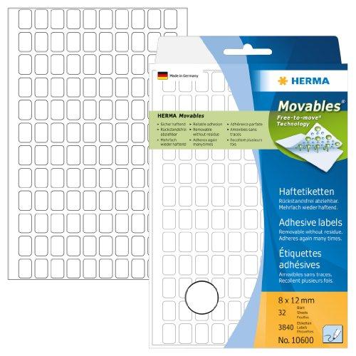 Herma 10600 Vielzweck Etiketten ablösbar ohne Rückstände (8 x 12 mm) weiß, 3.840 Klebeetiketten, 32 Blatt Papier matt, Handbeschriftung -