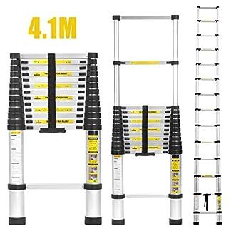 Finether 4,1M Escalera Telescópica de Aluminio, Escalera Extensible Multifuncional Portátil, Certificada por EN131, profesionales y Plegables, Carga 150kg Color Negro