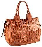 Pelle Italy Tasche Handtasche PI10084 Schultertasche Flecht Echt Leder 37x30x15 cm (BxHxT), Farbe:Cognac