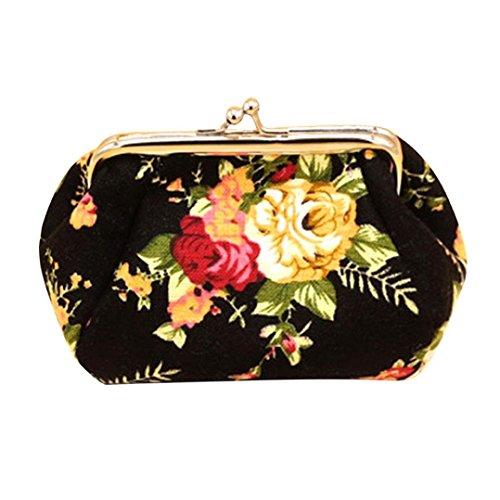 Amlaiworld Frauen Lady Retro Vintage Flower kleine Brieftasche Hasp Handtasche Clutch Bag (Schwarz) (Mini-handtasche Make-up Drucken)